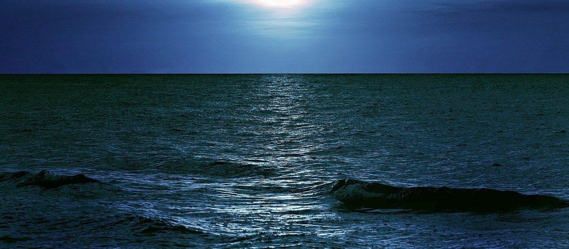 sea, night, moon